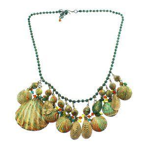 Enamel Shell Bib Necklace